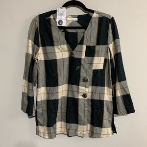 NWT Mango Black & Brown Blouse, Medium Size 6